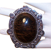 50s Taxco Mexico STERLING SILVER & Brown Agate Pendant!