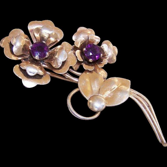 HARRY ISKIN 1950s Sterling Silver Vermeil & Rhinestone Floral Pin/Brooch!