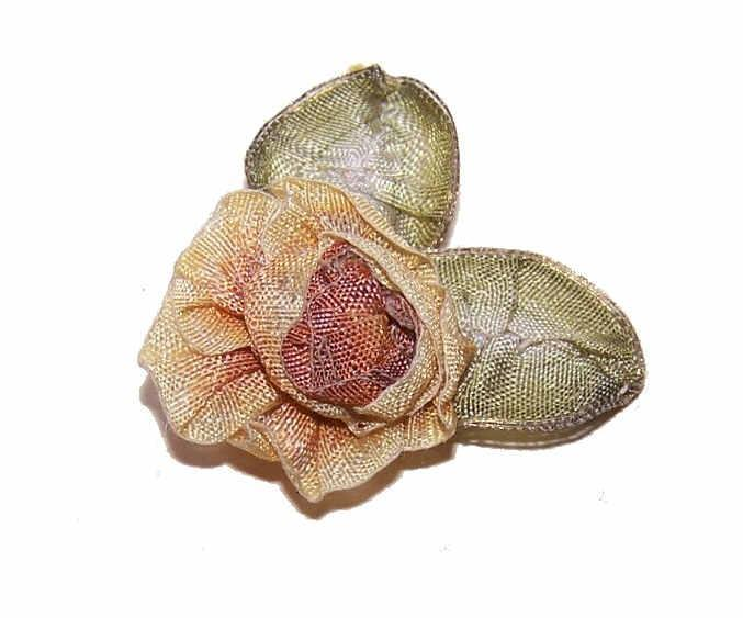 ART DECO French Ribbonwork Rose - Yellow Brown with Green Ombre Leaves!