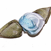Vintage FRENCH SILK Ribbonwork Applique - Light Blue with Olive Green Ombre Leaves!