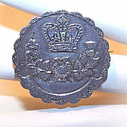 Dated 1887 STERLING SILVER Queen Victoria Jubilee Locket Pin!