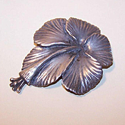 Mings Hawaii STERLING SILVER Pin/Brooch - Hibiscus Blossom!