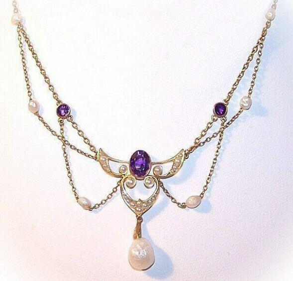 ANTIQUE EDWARDIAN 14K Gold, Amethyst & Natural Seed Pearl Festoon Necklace!