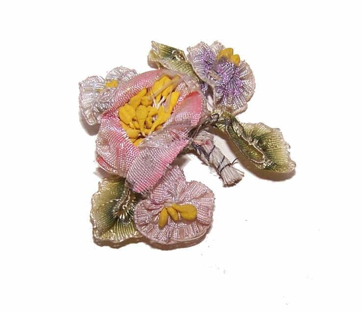 C.1900 FRENCH Silk Ombre Ribbon Floral Spray/Applique/Embellishment!