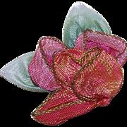 Art Deco FRENCH Silk Ombre Ribbonwork Floral Applique/Embellishment!