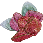 Art Deco FRENCH Silk Ombre Ribbonwork Floral Applique/Embellishment!
