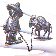 Vintage STERLING MEXICO 2-Part Pin Combination - Young Man with his Burro/Donkey!