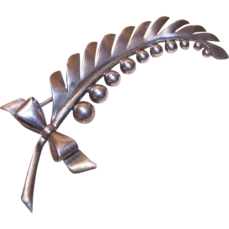 Retro 1950s STERLING SILVER Pin/Brooch - Lily of the Valley!