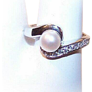 Vintage STERLING SILVER, 6mm Cultured Pearl & Rhinestone Ring!