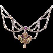 ART NOUVEAU 10K Gold, Enamel, Amethyst & Natural Pearl Festoon Necklace!