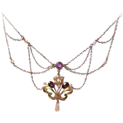 ART NOUVEAU 10K Gold, Enamel, Amethyst & Natural Pearl Festoon Necklace!