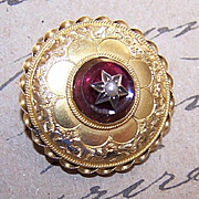 Classic ANTIQUE VICTORIAN 14K Gold, Garnet & Pearl Locket Pin!