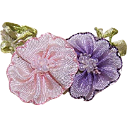ART DECO French Ribbonwork Rose - Pink & Lavender Ombre with Seed Beads!