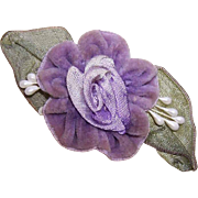 Hand Made LAVENDER VELVET & Wired Ribbon Floral Applique/Embellishment!