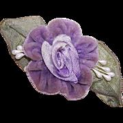 Hand Made LAVENDER VELVET & Wired Ribbon Floral Applique/Embellishment!