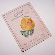 American ART DECO Satin Ribbon Rose Applique on Original Card!