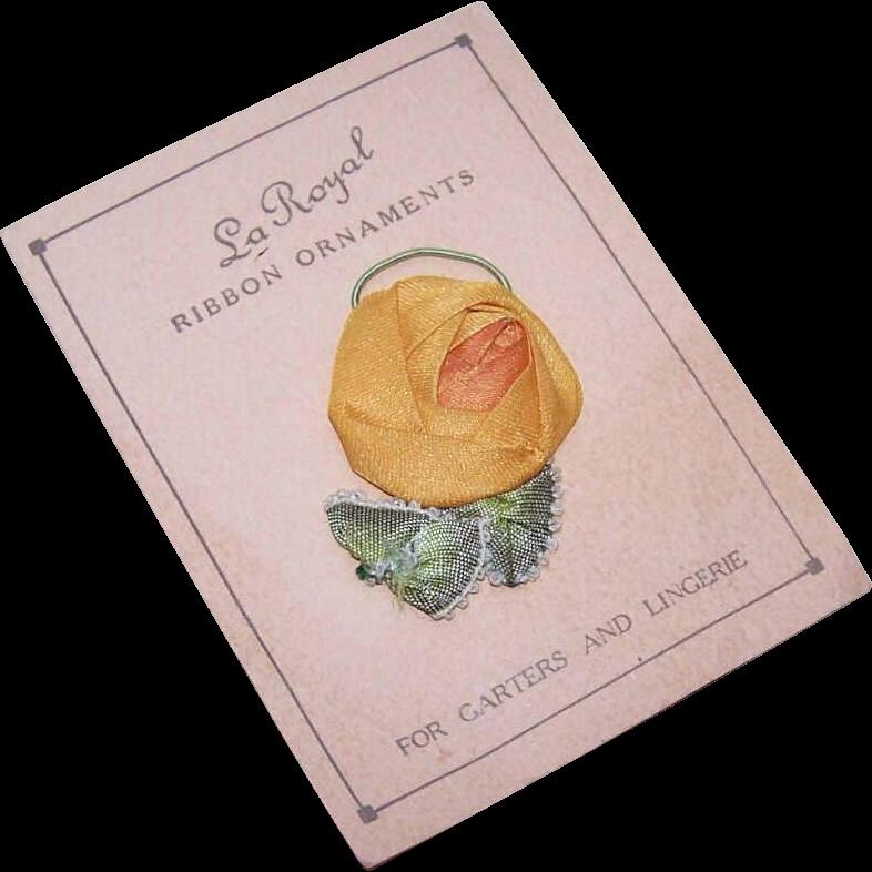 American ART DECO Satin Ribbon Rose Applique/Ribbon Flower on Original Card!