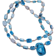 Vintage EGYPTIAN REVIVAL Blue Faience Ceramic Bead Necklace!