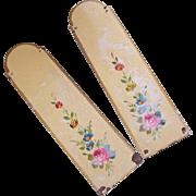 Pair French ART DECO Handpainted Tole Door Panels - Florals!