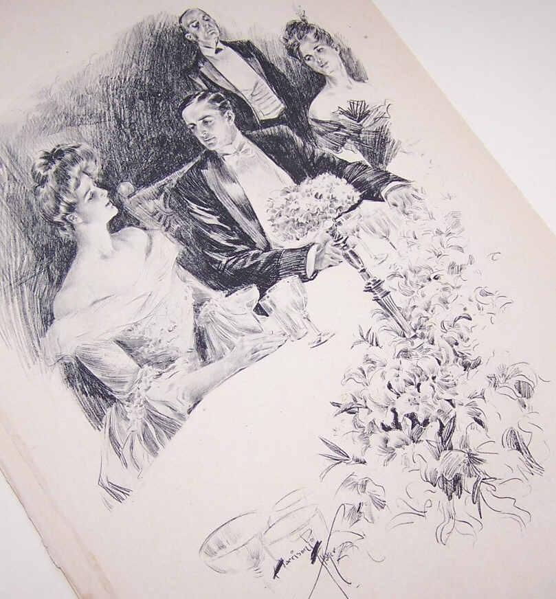 Dated 1903 B&W Book Illustration by Harrison Fisher - Lady & Gent at the Dinner Table!
