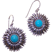 Stunning STERLING SILVER & Turquoise Glass Floral Earrings!