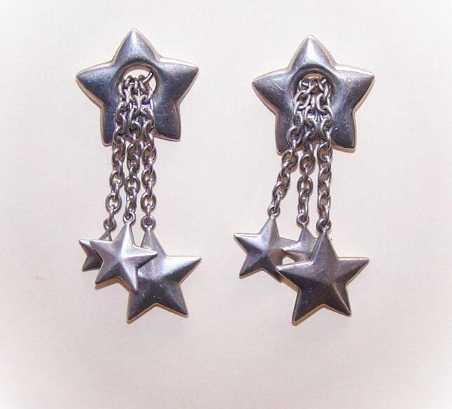 Vintage STERLING SILVER Drop Earrings - Lots of Stars!