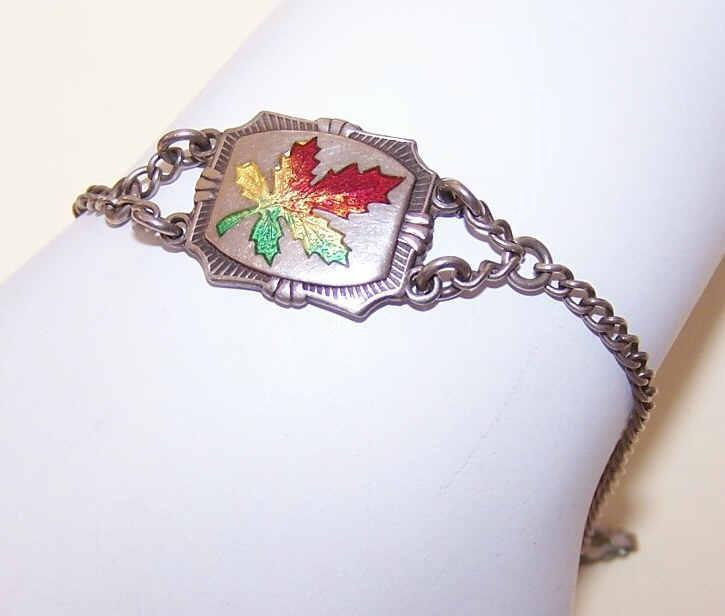 Vintage STERLING SILVER & Enamel Charm Bracelet - Maple Leaf Center!