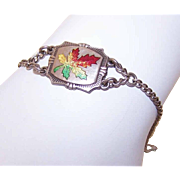 Vintage STERLING SILVER & Enamel Charm Bracelet - Maple Leaf Center!