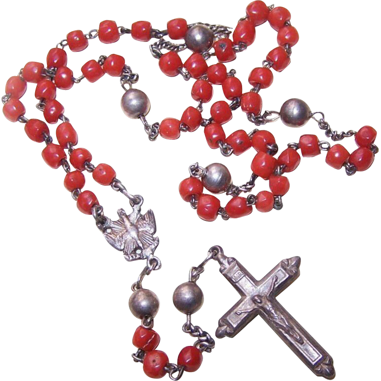 ANTIQUE VICTORIAN Silver & Coral Rosary - Saint Esprit Center & Original Case!