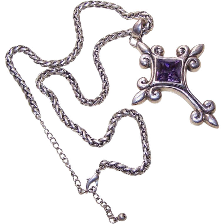STERLING SILVER & Rhinestone Cross Pendant with Chain by Barse!