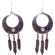 Vintage STERLING SILVER & Mother of Pearl Feather Drop Earrings!
