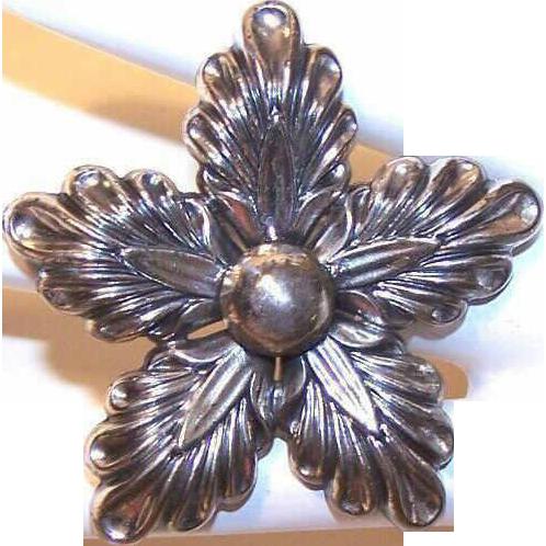 1950s DANECRAFT Sterling Silver Snowflake/Star Pin/Brooch!
