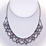 RETRO Unsigned Silver Metal & Blue Aurora Borealis Rhinestone Festoon Necklace!