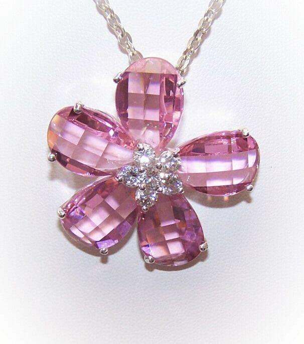 Awesome STERLING SILVER & Pink Crystal Rhinestone Floral Pendant!