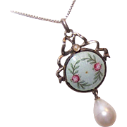Heinrich Levinger Jugendstil 900 SILVER, Enamel & Glass Pearl Pendant/Lavaliere!