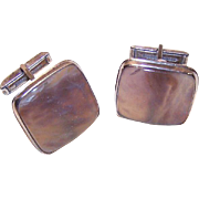 Unique 1950s STERLING SILVER & Agate Cufflinks/Cuff Links!