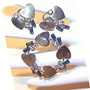 50s CARL ART Sterling Silver & Rhinestone Pin/Earrings Set!