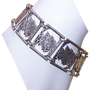 Vintage STERLING SILVER Bracelet - Tall Ship/Spanish Galleon Links!