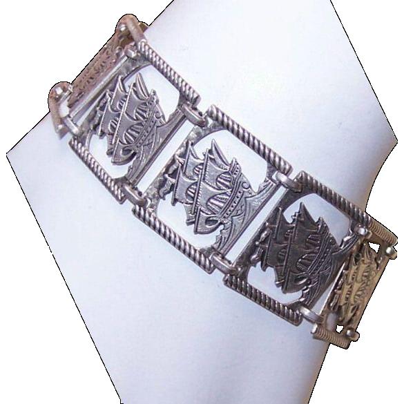 Vintage STERLING SILVER Bracelet - Tall Ship/Spanish Galleon Links!