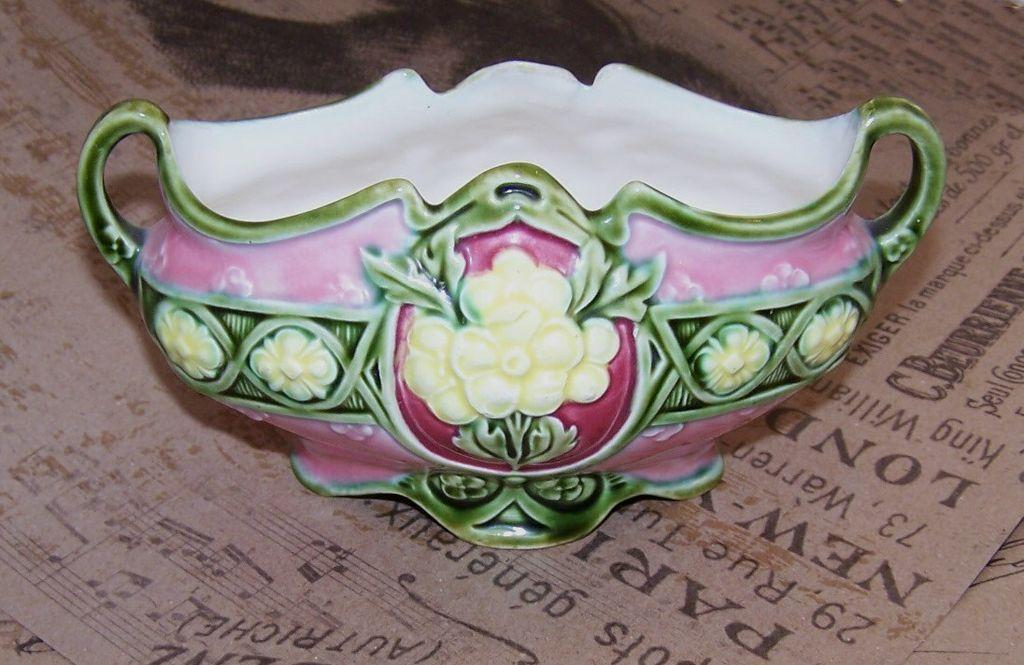 ART NOUVEAU Majolica 2-Handled/Footed Planter or Vase - Made in Austria!