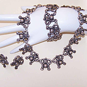 Vintage Mexican STERLING SILVER Parure - Necklace, Bracelet & Earrings!