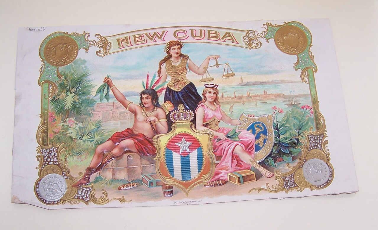 C.1900 NEW CUBA Cigar Box Label - Pristine Graphics of 2 Women & An Indian!