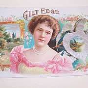 C.1900 GILT EDGE Cigar Box Label-Pristine Graphics of a Lovely Lady & Pastoral Scene!
