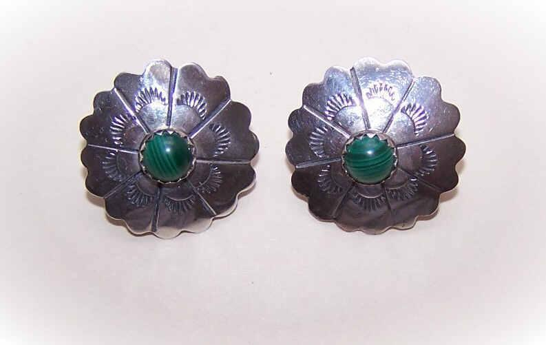 Vintage STERLING SILVER & Malachite Earrings - Studs with Jackets!