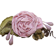 ART DECO French Ribbonwork Rose - Blush Satin with Ombre Green Leaves!