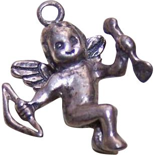 Vintage STERLING SILVER Charm - Cupid with Bow & Arrow!