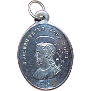 Small FRENCH SILVERPLATE Religious Medal/Charm - Saint Joseph!