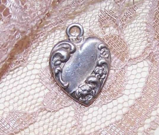 Vintage STERLING SILVER Puffy Heart Charm - Banner, Scrollwork & Floral!