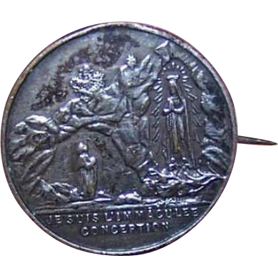 FRENCH Silverplate Souvenir Pin - Lourdes/Saint Bernadette & The Virgin Mary!