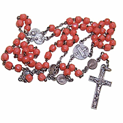 C.1910 BELGIAN Silverplate & Glass Bead Rosary - Precieux Sang de Bruges!